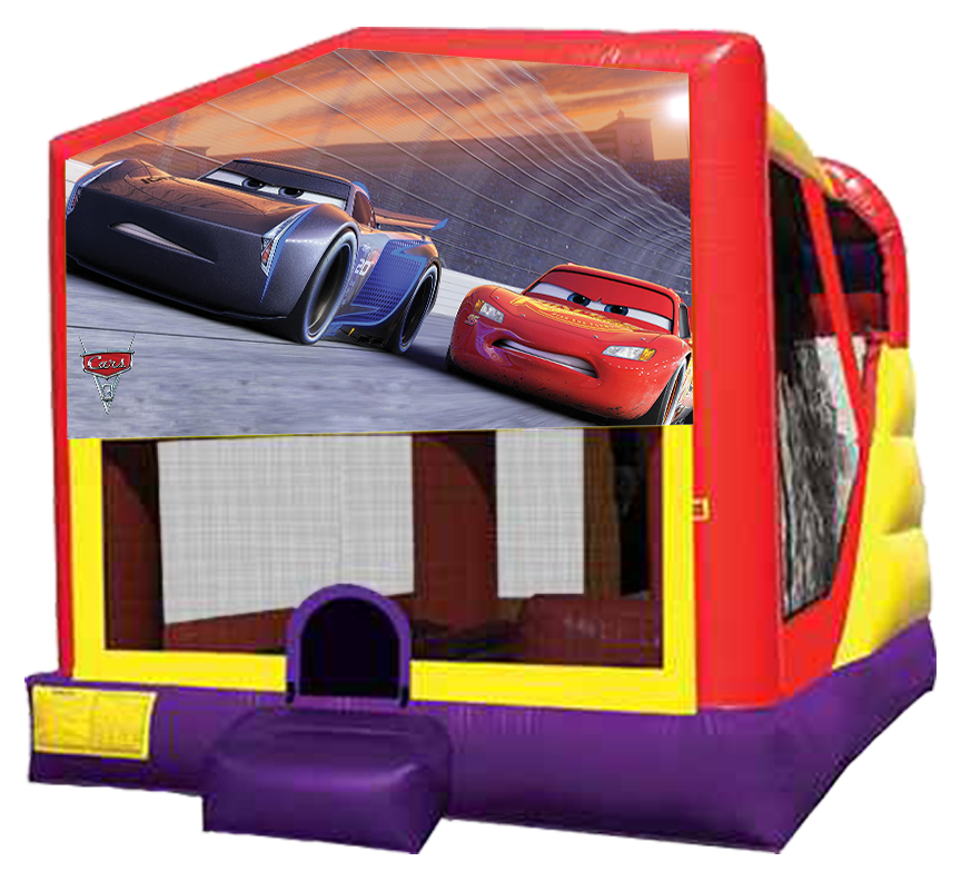 Cars Extra Large Combo Bouncer Slide Climber B-Ball Hoop for rent in Austin Texas from Austin Bounce House Rentals