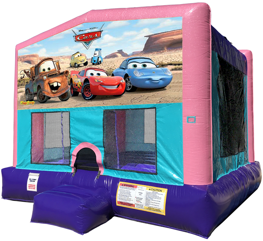 Cars Sparkly Pink Bounce House Rentals in Austin Texas from Austin Bounce House Rentals