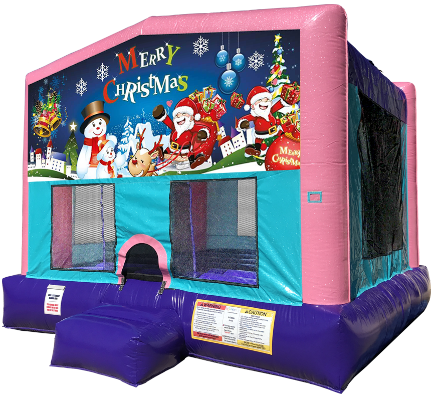 Christmas Sparkly Pink Bounce House Rentals in Austin Texas from Austin Bounce House Rentals