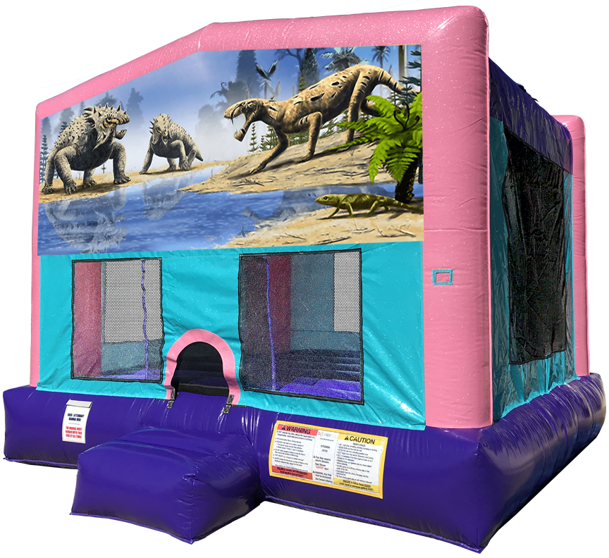 Dinosaur Pink Sparkly Bounce House Rentals in Austin Texas from Austin Bounce House Rentals