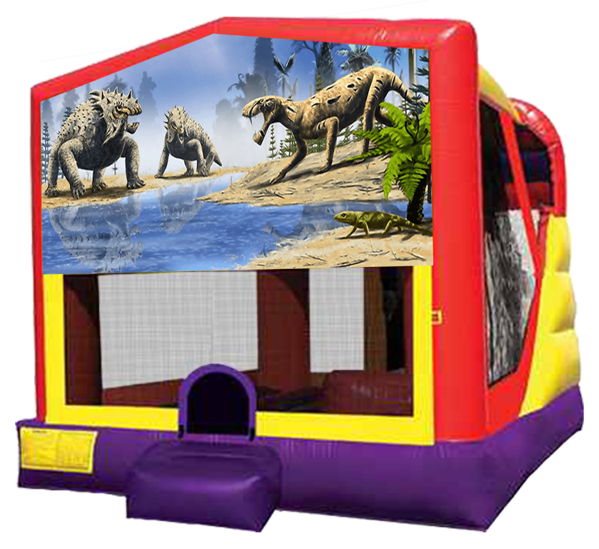 Dinosaur 4-in-1 Bounce Slide Combo Rentals in Austin Texas from Austin Bounce House Rentals