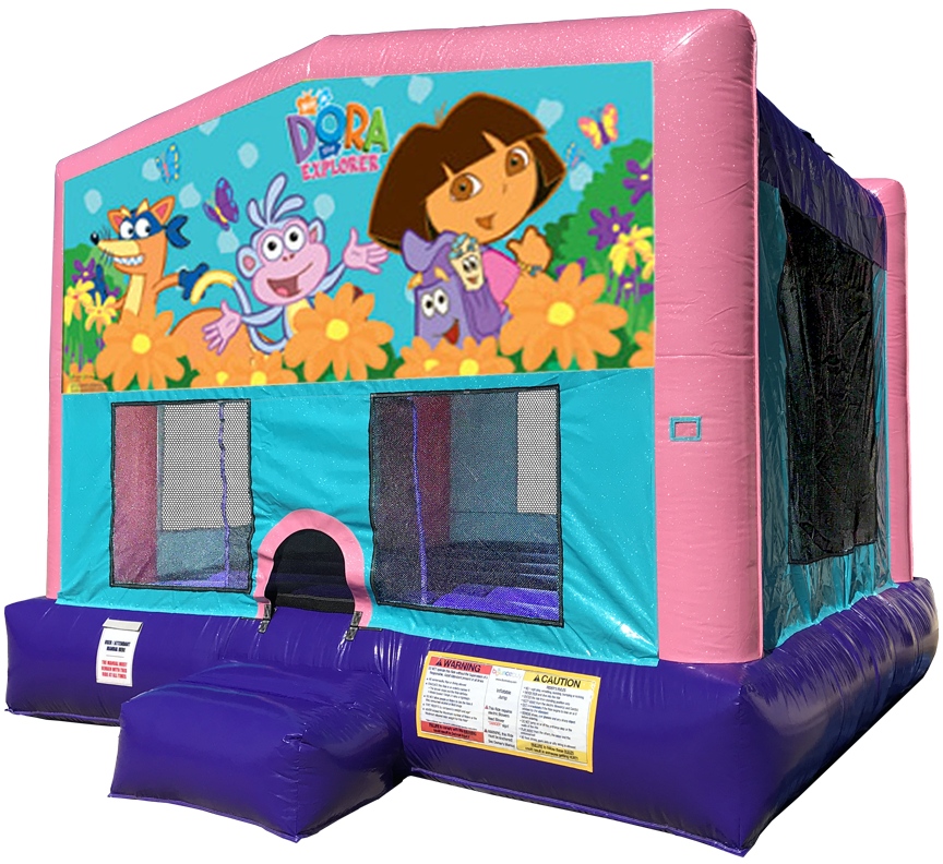Dora Sparkly Pink Bounce House Rentals in Austin Texas from Austin Bounce House Rentals