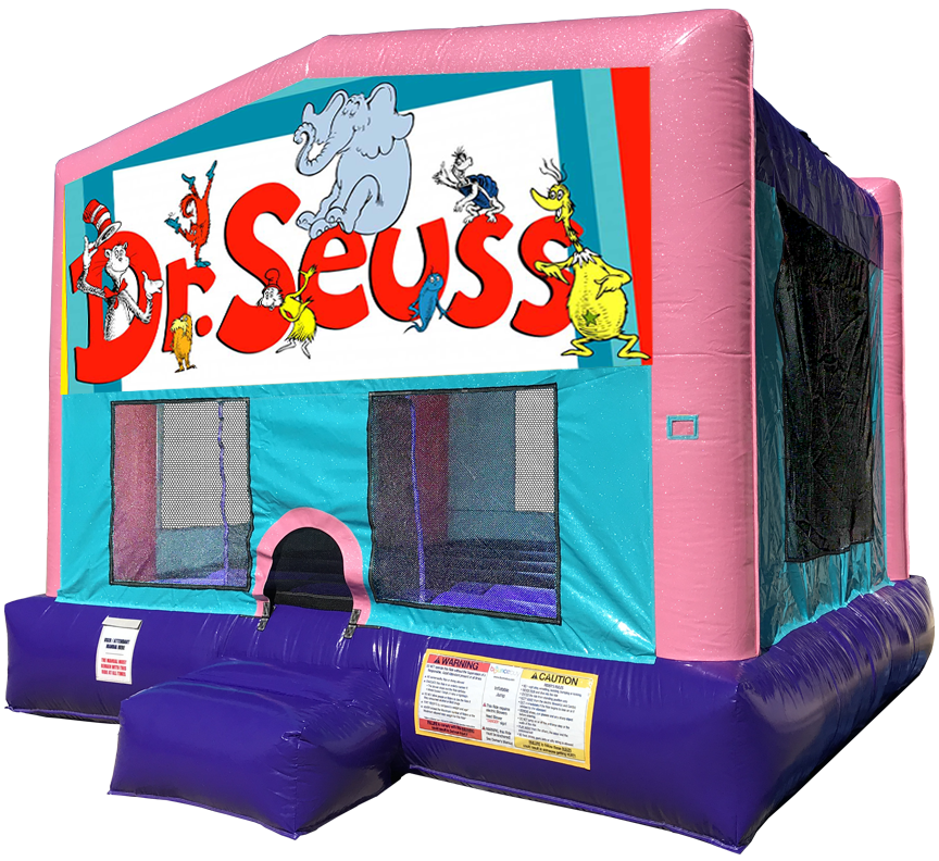 Dr Seuss Sparkly Pink Bounce House rentals in Austin Texas from Austin Bounce House Rentals
