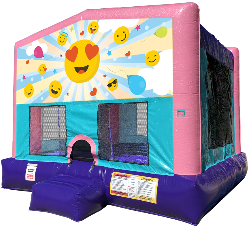 Emoji Sparkly Pink Bounce House Rentals in Austin Texas from Austin Bounce House Rentals
