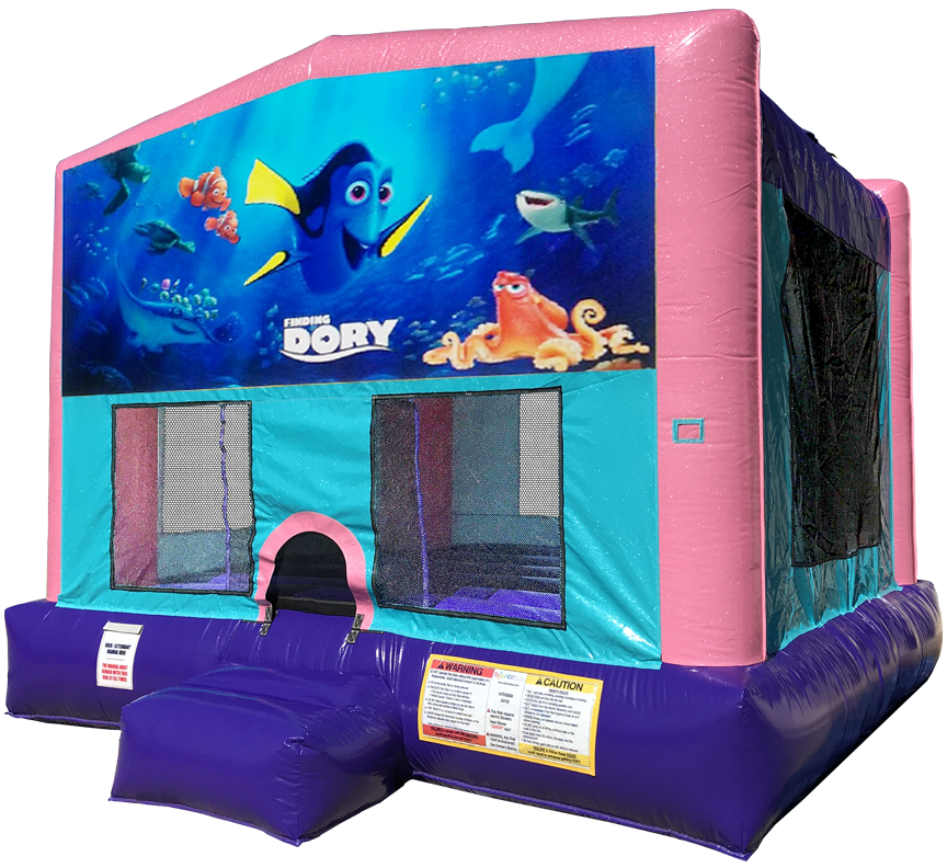 Finding Dory Sparkly Pink Bounce House Rentals in Austin Texas from Austin Bounce House Rentals