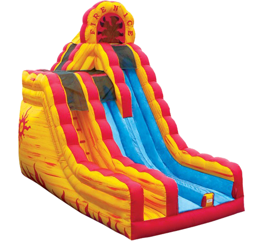Fire'n Ice Dual Lane Slide available for rent in Austin Texas from Austin Bounce House Rentals