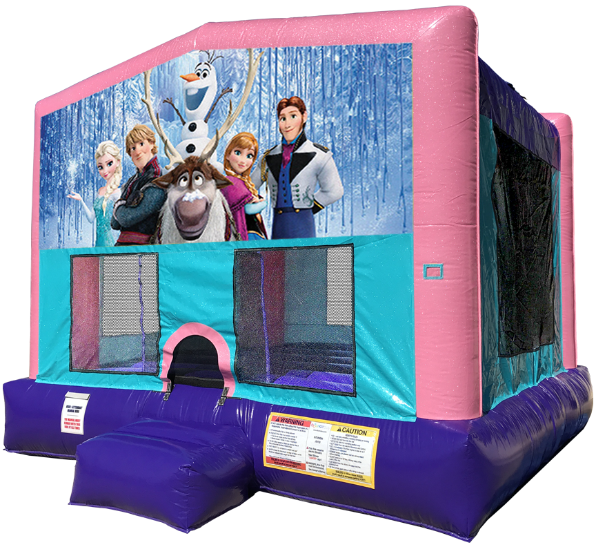 Frozen Sparkly Pink Bounce House rentals in Austin Texas from Austin Bounce House Rentals