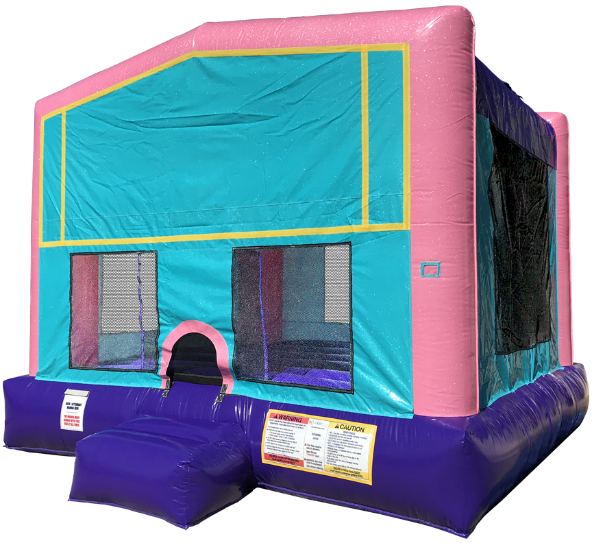 Pink Sparkly Funhouse Bouncer rentals in Austin Texas from Austin Bounce House Rentals