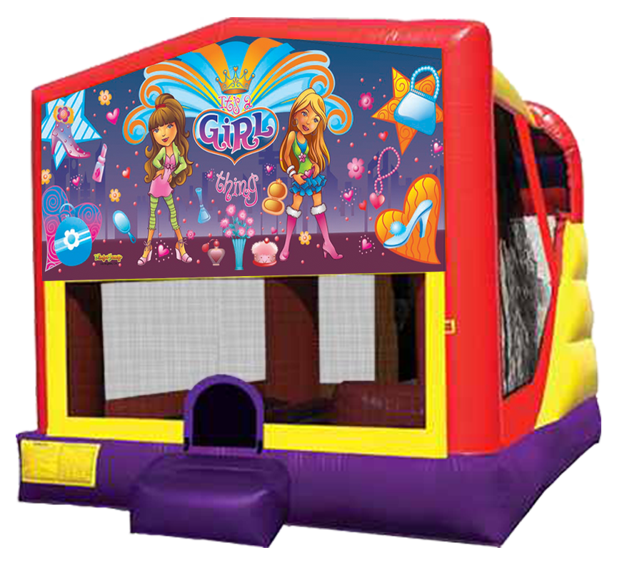 It's a Girl Thing XL Combo 4-in-1 bouncer slide rentals in Austin Texas from Austin Bounce House Rentals