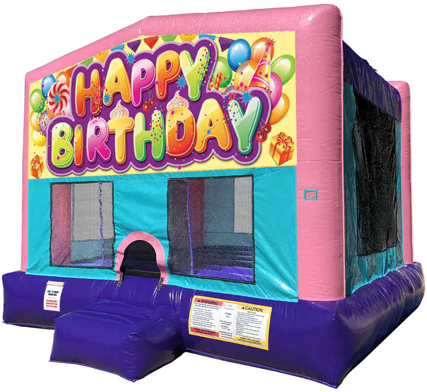 Happy Birthday Sparkly Pink Bounce House Rentals in Austin Texas from Austin Bounce House Rentals