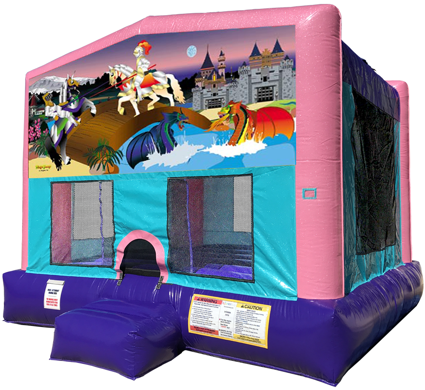 Knights + Dragons Pink Sparkly Bounce House Rentals in Austin Texas from Austin Bounce House Rentals