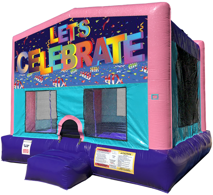 Let's Celebrate Sparkly Pink Bounce House Rentals in Austin Texas from Austin Bounce House Rentals