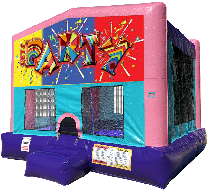 Let's Party Sparkly Pink Bounce House Rentals in Austin Texas from Austin Bounce House Rentals