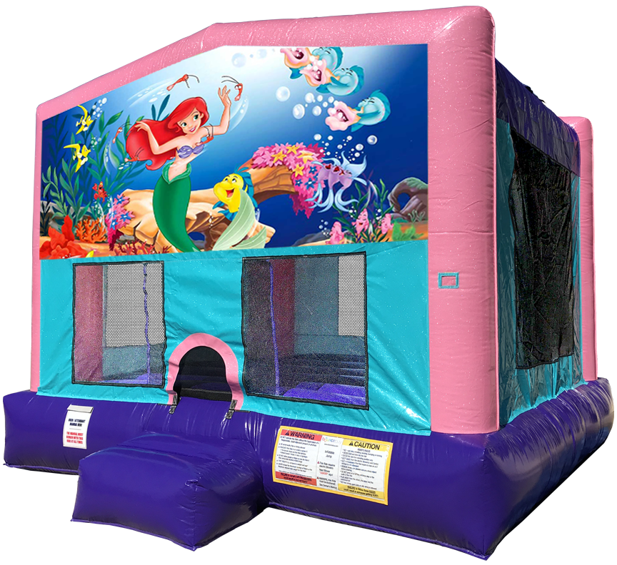 Little Mermaid sparkly pink bounce house rental in Austin Texas by Austin Bounce House Rentals
