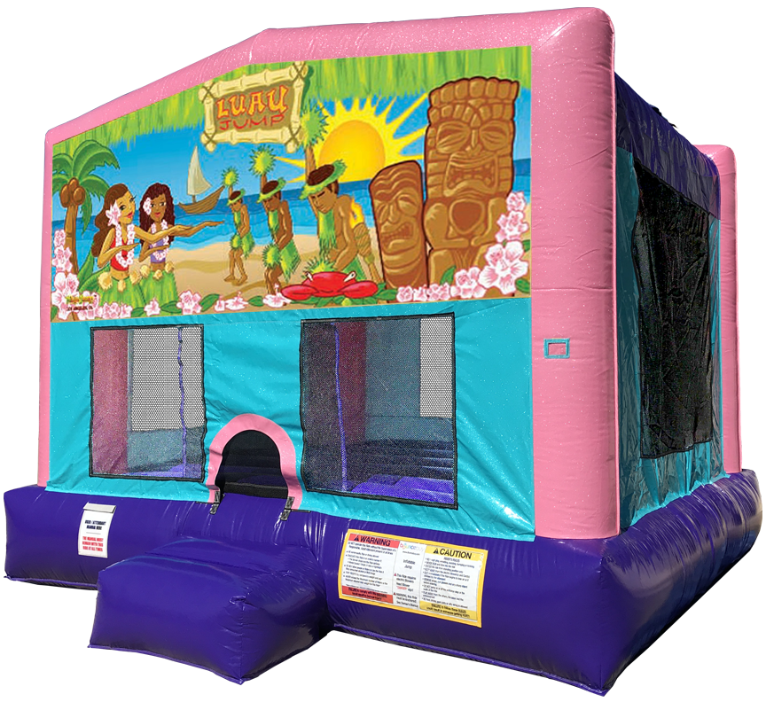 Luau Sparkly Pink Bounce House rentals in Austin Texas from Austin Bounce House Rentals