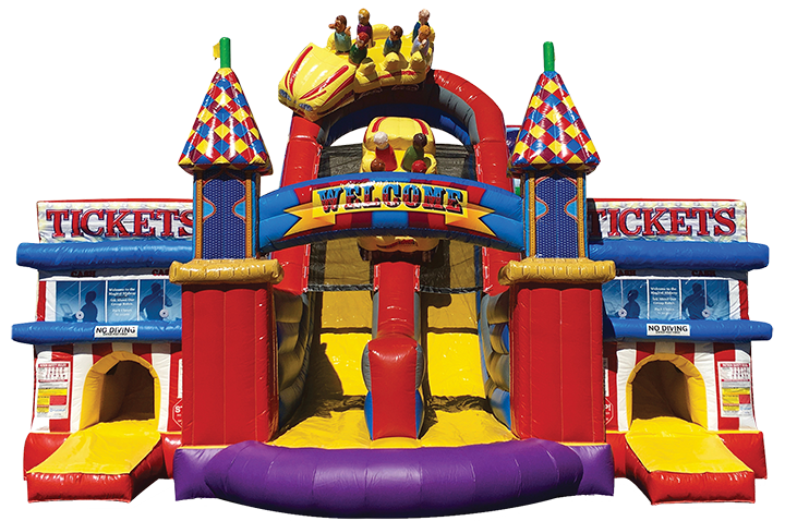 Midway Amusement Park Obstacle Course front view in Austin Texas from Austin Bounce House Rentals