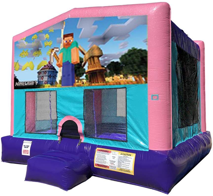 Minecraft Sparkly Pink Bounce House Rentals in Austin Texas from Austin Bounce House Rentals