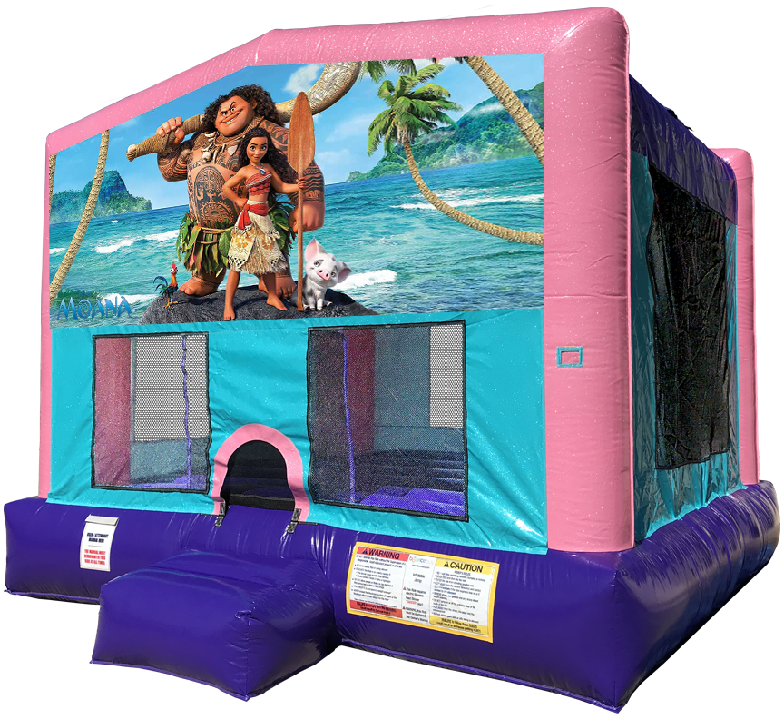 Moana Sparkly Pink Bounce House Rentals in Austin Texas from Austin Bounce House Rentals
