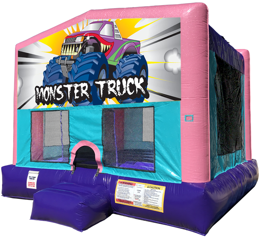 Monster Truck sparkly pink bounce house rental in Austin Texas by Austin Bounce House Rentals
