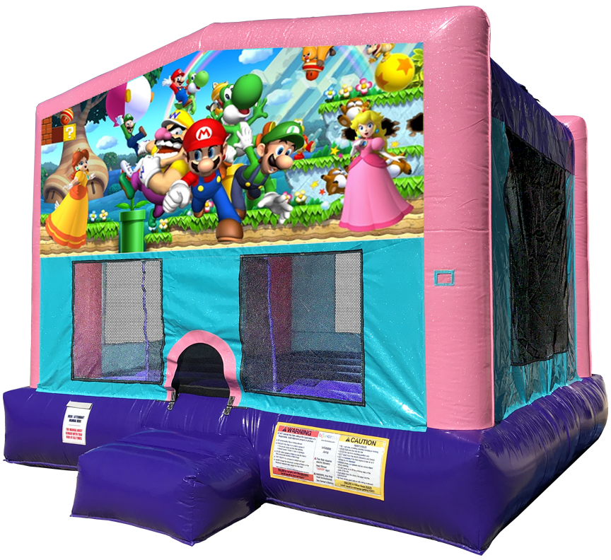 Nintendo Princesses Sparkly Pink Bounce House Rentals in Austin Texas from Austin Bounce House Rentals 512-765-6071
