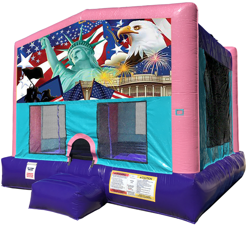 Patriotic Sparkly Pink Bounce House Rentals in Austin Texas from Austin Bounce House Rentals