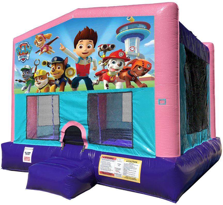 Paw Patrol Sparkly Pink Bounce House Rentals in Austin Texas from Austin Bounce House Rentals