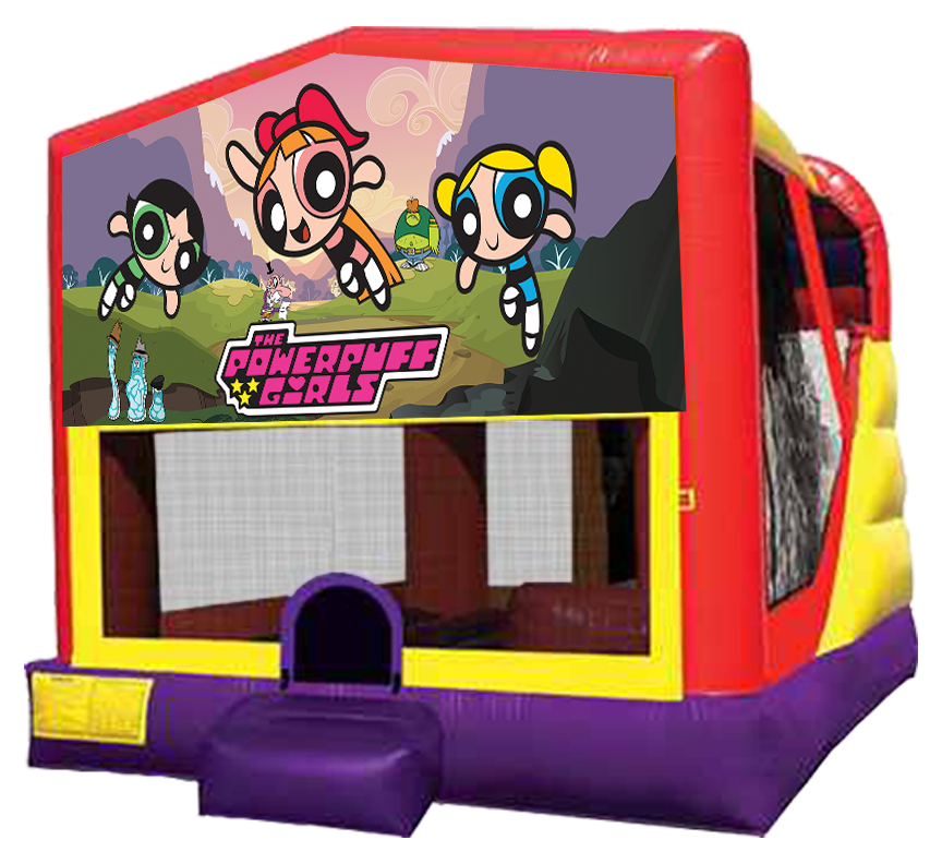 Pow R Puff Girls bounce slide combo rental in Austin Texas from Austin Bounce House Rentals