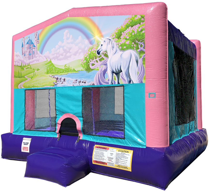 Rainbow Unicorn Sparkly Pink Bounce House rentals in Austin Texas from Austin Bounce House Rentals