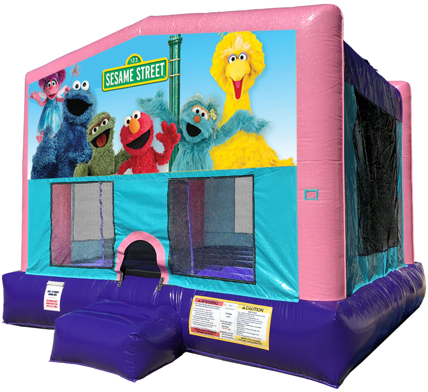 Sesame Street Sparkly Pink Bounce House Rentals in Austin Texas from Austin Bounce House Rentals