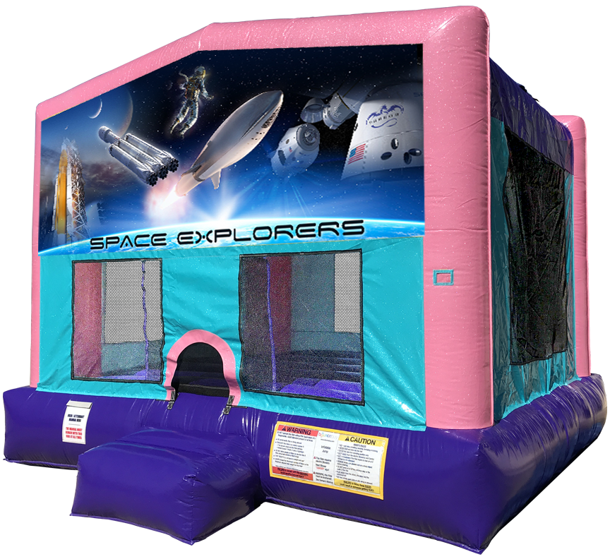 Space Explorers Sparkly Pink Bounce House Rentals in Austin Texas from Austin Bounce House Rentals