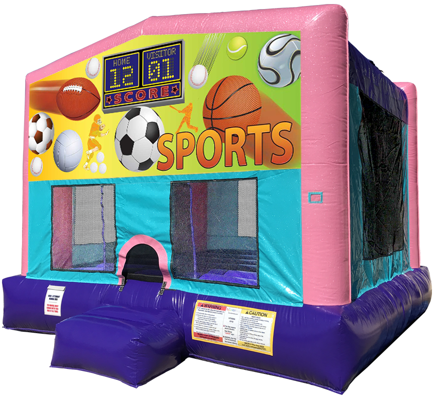 Sports Sparkly Pink Bounce House Rentals in Austin Texas from Austin Bounce House Rentals