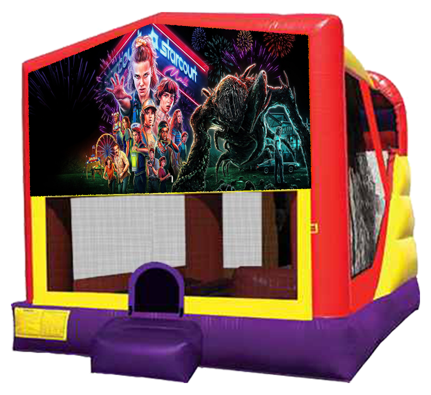 Stranger Things XL Combo 4-in-1 bouncer slide rentals in Austin Texas from Austin Bounce House Rentals