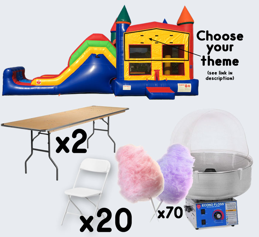 Super Combo Cotton Candy 2 tables and 20 chairs party package rental from Austin Bounce House Rentals
