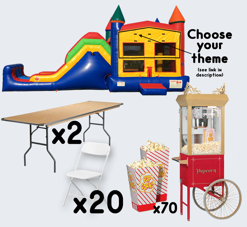 Super Combo Popcorn Cart 2 tables and 20 chairs party package rental from Austin Bounce House Rentals