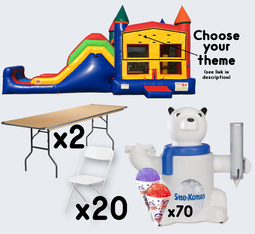 Super Combo Sno-Cone 2 tables and 20 chairs party package rental from Austin Bounce House Rentals