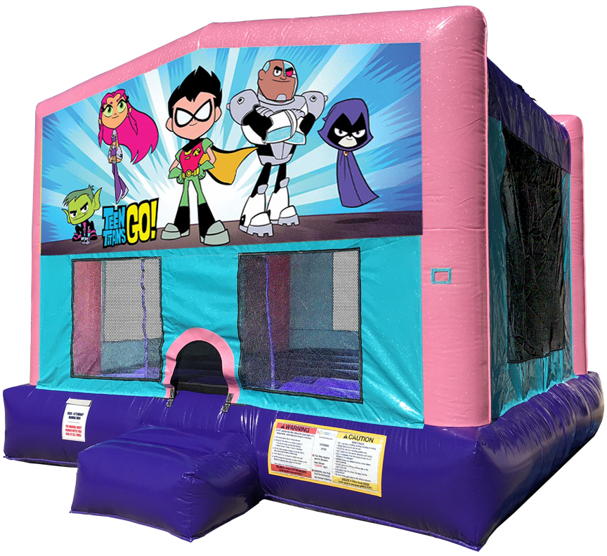 Teen Titans Go Sparkly PInk Bounce House rentals in Austin Texas from Austin Bounce House Rentals