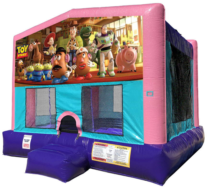 Toy Story Sparkly Pink Bounce House rentals in Austin Texas from Austin Bounce House Rentals