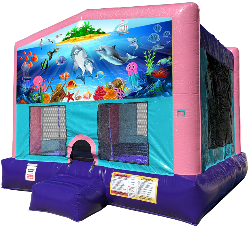 Under the Sea Sparkly Pink Bounce House Rentals in Austin Texas from Austin Bounce House Rentals