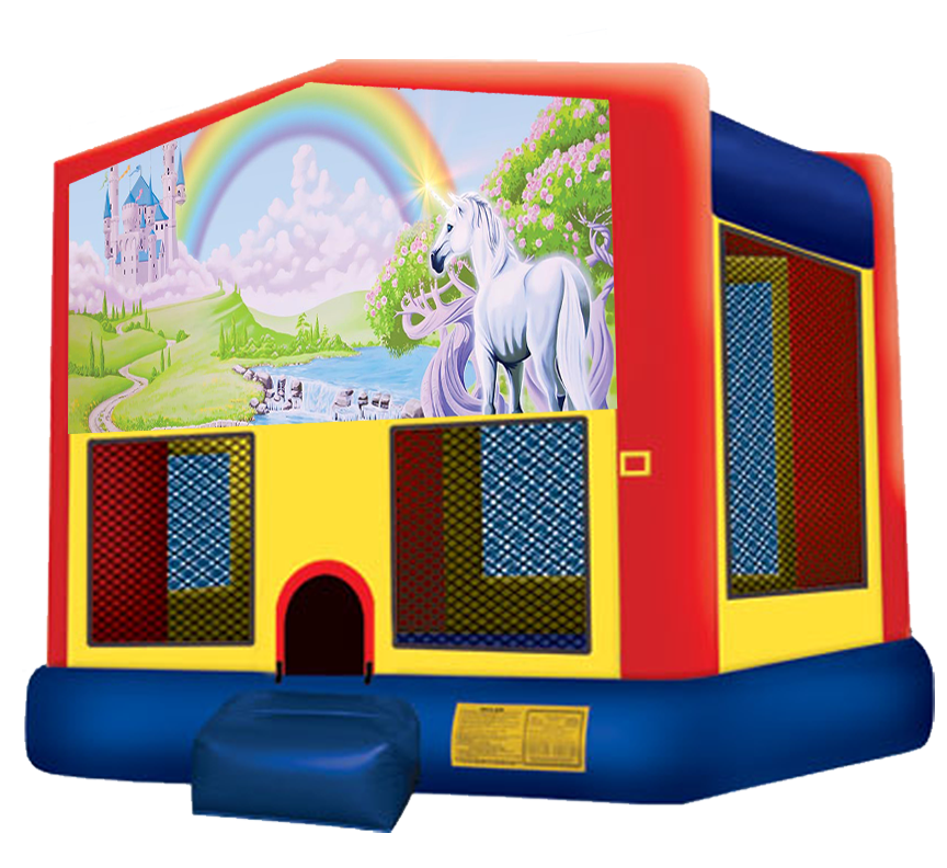 Rainbow Unicorn Bounce House rentals in Austin Texas from Austin Bounce House Rentals