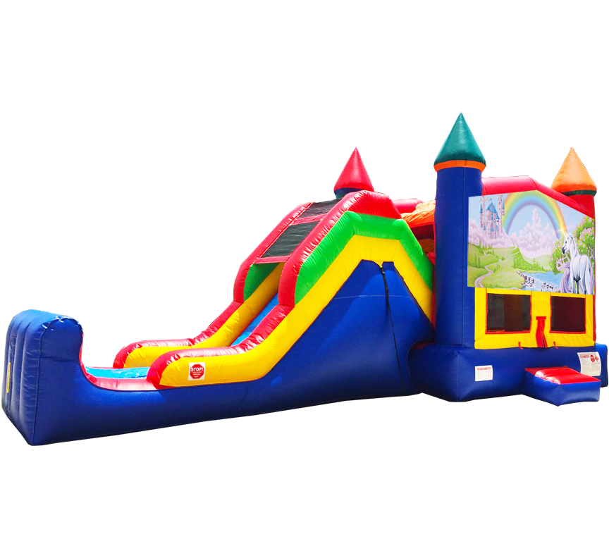 Rainbow Unicorn Super Combo 5-in-1 from Austin Bounce House Rentals in Austin Texas