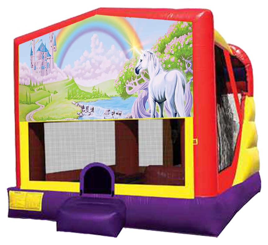 Rainbow Unicorn Party 4-in-1 Combo in Austin Texas from Austin Bounce House Rentals 512-765-6071