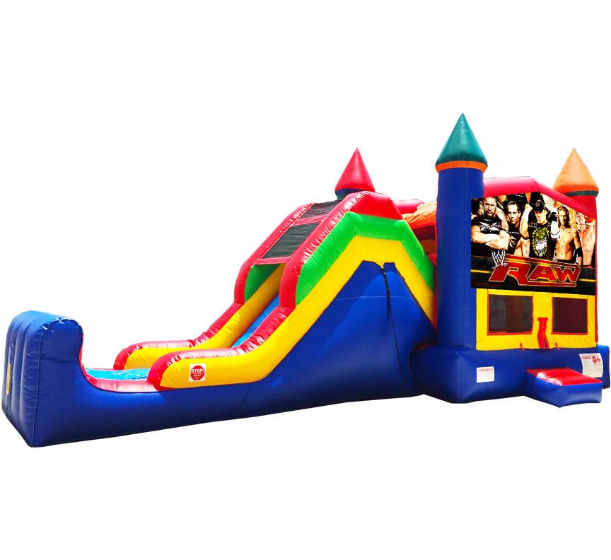WWE Wrestling Super Combo 5-in-1 wet-dry slide bounce house in Austin Texas from Austin Bounce House Rentals