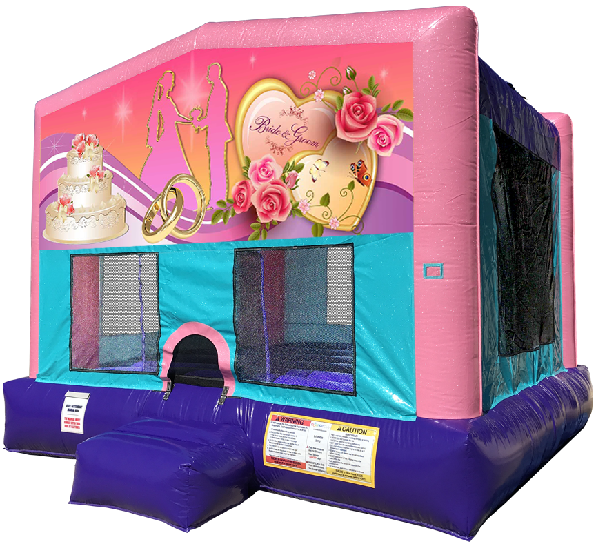 Wedding Hearts Sparkly Pink Bounce House by Austin Bounce House Rentals in Austin Texas