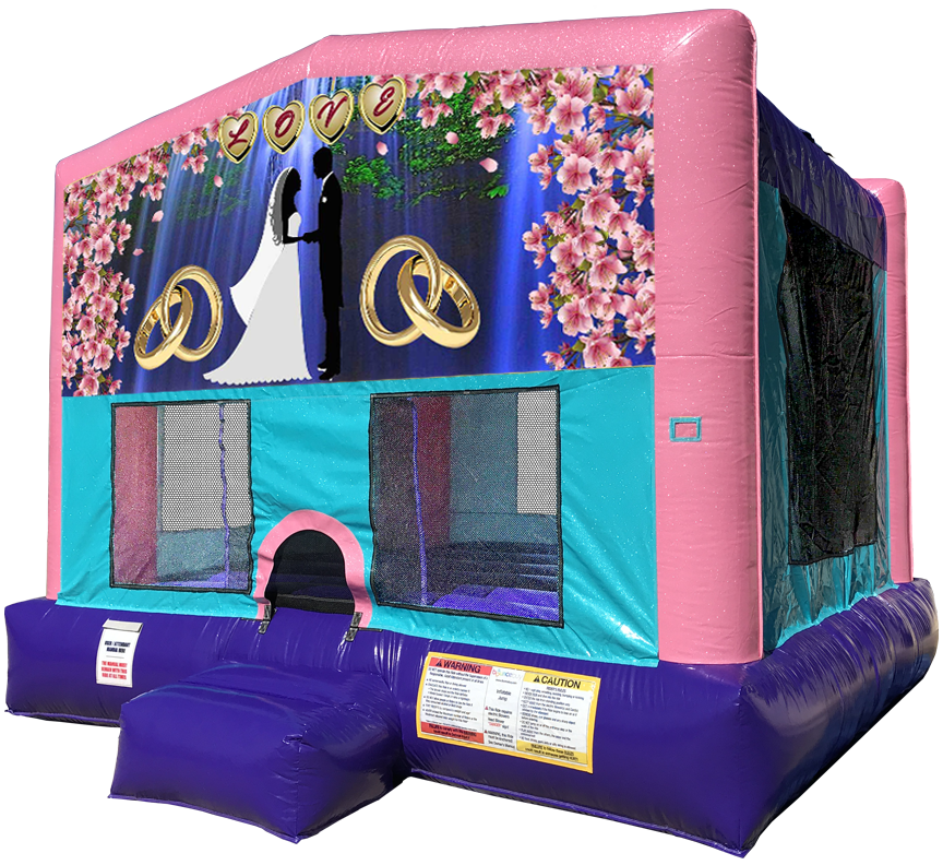 Wedding Love Sparkly Pink Bounce House by Austin Bounce House Rentals in Austin Texas