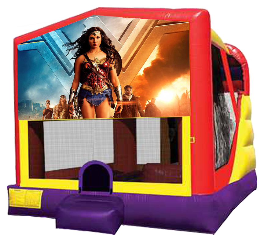 Wonder Woman 4-in-1 Combo featuring bouncer, slide, climber and basketball hoop in Austin Texas