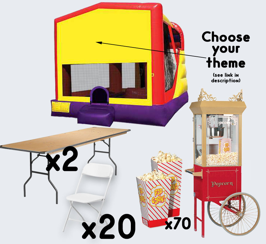 4-in-1 Combo Popcorn Cart 2 tables and 20 chairs party package rental from Austin Bounce House Rentals