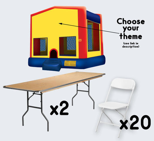 Bounce House with 2 Tables + 20 Chairs (adult)