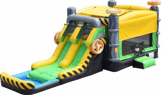 Caution Double Lane Bounce House Combo Wet/Dry