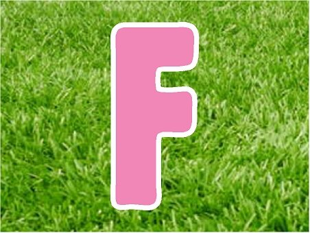 F in pink