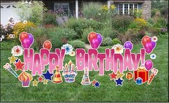 Happy Birthday Yard Sign Pink